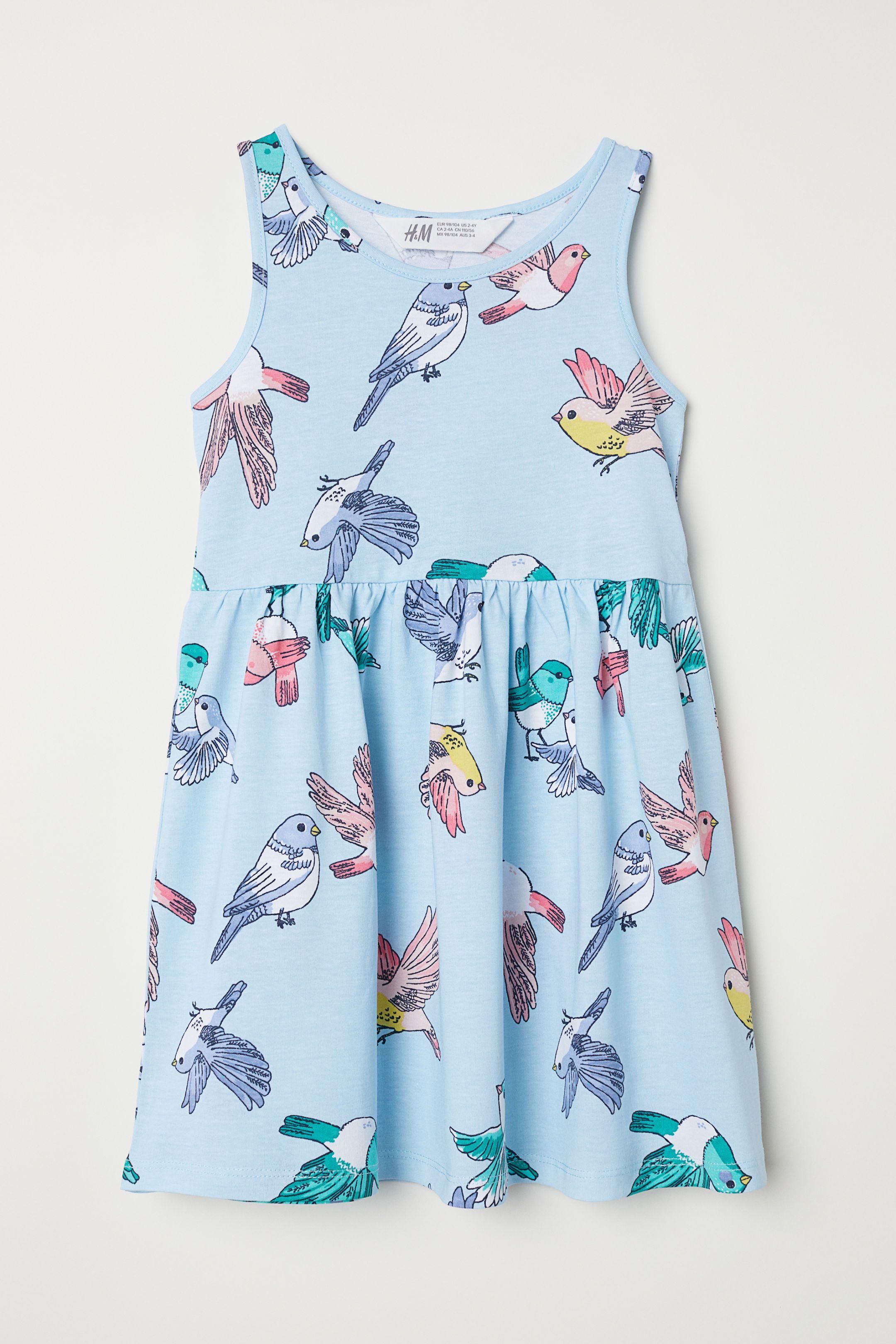 Sleeveless Jersey Dress Light Blue Birds Kids H M Us Cotton Dress Summer Kids Dress Girls Sequin Dress [ 3240 x 2160 Pixel ]