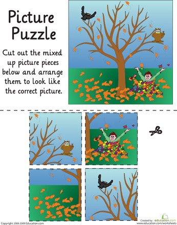 Autumn Leaves Picture Puzzle | Picture puzzles, Worksheets and ...