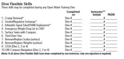 Padi Open Water Referral Form  Crop  Dive    Open