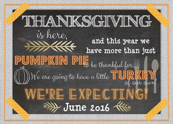 Thanksgiving Pregnancy Announcement Subway Art by LCOonEtsy baby
