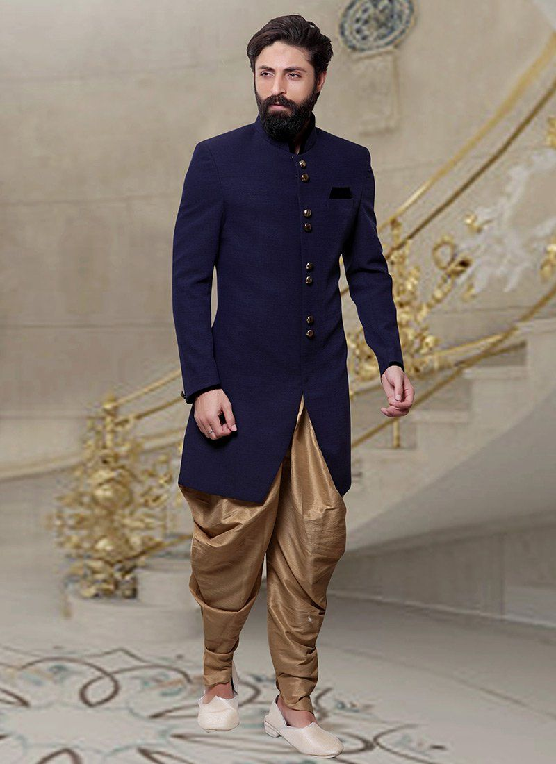 5aed153db4 Buy Navy Blue Dhoti Style Indo Western Sherwani online from the wide  collection of indowestern-sherwani. This Blue colored indowestern-sherwani  in Blended ...