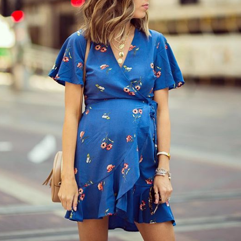 f17856940885a Maternity Floral Print Surplice Wrap Ruffled Short Dress   How to do ...