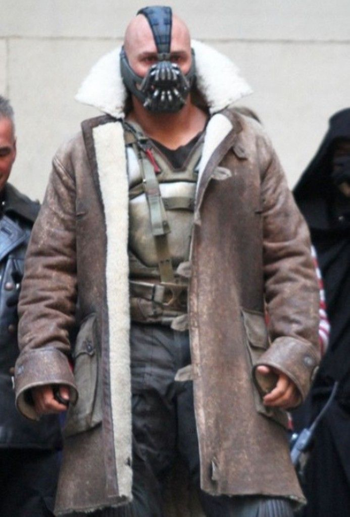 TOM HARDY BANE THE DARK KNIGHT RISES REAL SHEARLING LEATHER TRENCH COAT JACKET