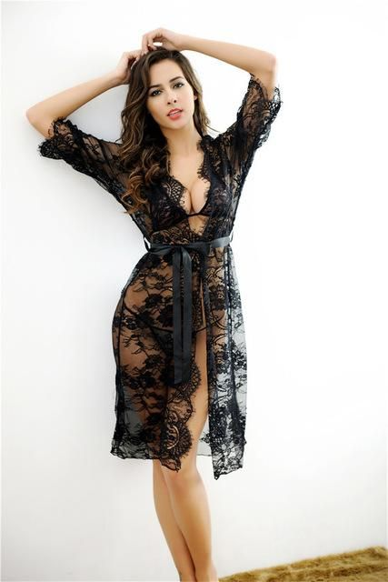 2017 New Fashion Women Sexy Lace Sleepwear Lady See Through Babydoll  Intimates Hot Robes Chemise De Nuit Mini Slim Nightgowns 313c791f2