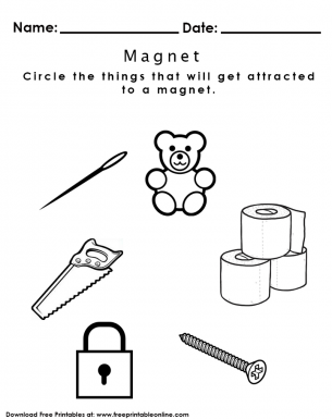 Free Magnet Worksheets For Kindergarten