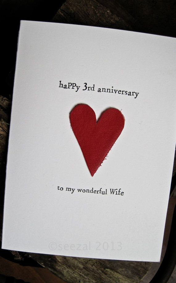 3rd Wedding Anniversary Card Leather Traditional Symbol Handmade Keepsake Wif 3rd Wedding Anniversary Third Wedding Anniversary Gifts Wedding Anniversary Cards