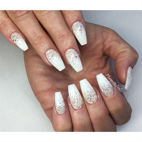 glitter ombr white ballerina nails