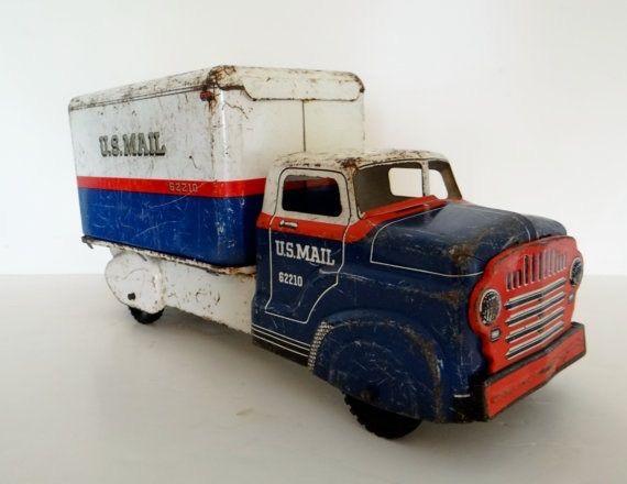 Vintage toy mail truck