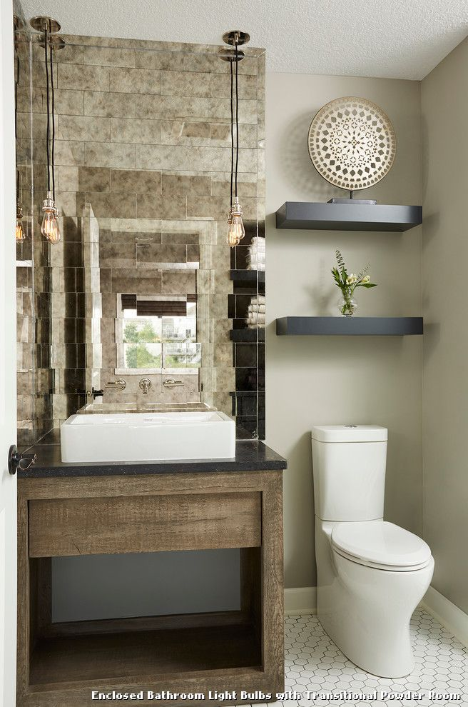 Enclosed Bathroom Light Bulbs With Transitional Powder Room Kitchen Lighting From