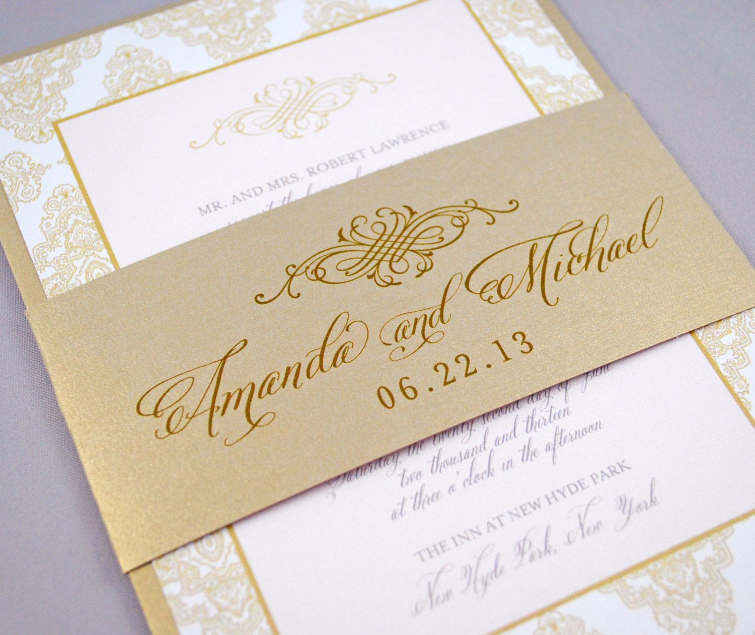 Champagne Wedding Invitations Gold Vintage Wedding Invitation