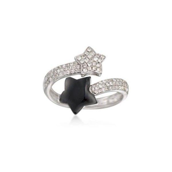 Ross Simons Diamond Black yx Star Bypass Ring in Gold Size 5