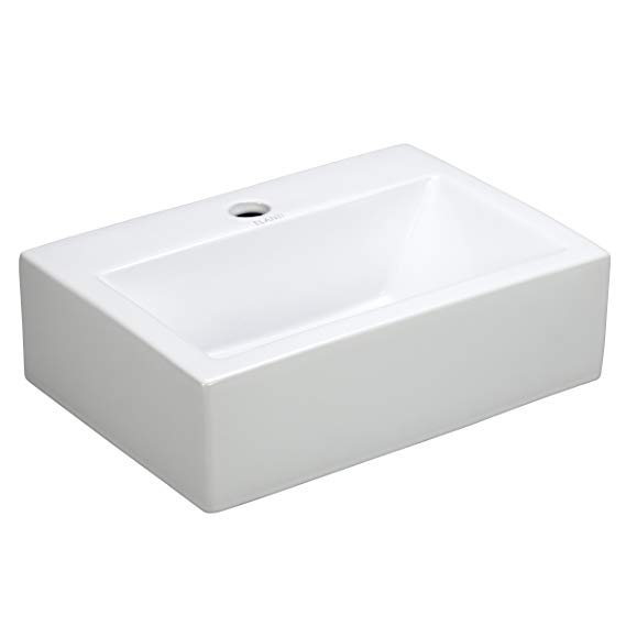 Elanti Collection Ec9859 Sink Rectangular 16 8 X 12 X 5 1 Inches White Vessel Sin Rectangular Sink Bathroom Wall Mounted Sink Wall Mounted Bathroom Sinks