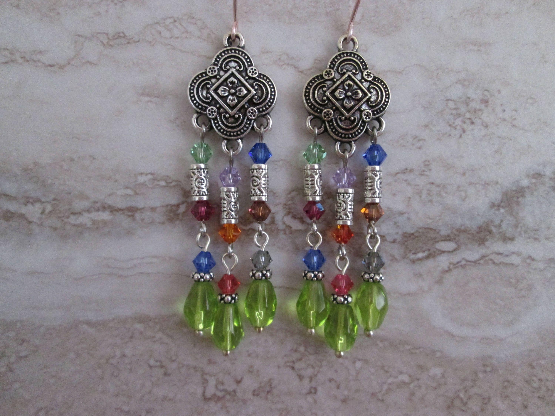 Multi colored chandelier earringsswarovski crystal bicone beads multi colored chandelier earringsswarovski crystal bicone beadstal tube beadsass beadst decoho earrings arubaitofo Images