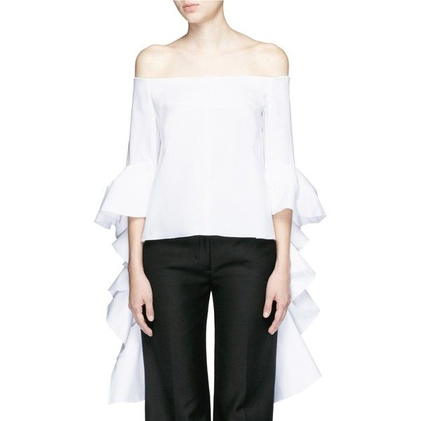 Ellery 'Delores' split ruffle sleeve off-shoulder top ($690) ❤ liked on Polyvore featuring tops, blouses, white, shirts & blouses, white blouse, white off the shoulder blouse, ruffle sleeve blouse and off shoulder blouse