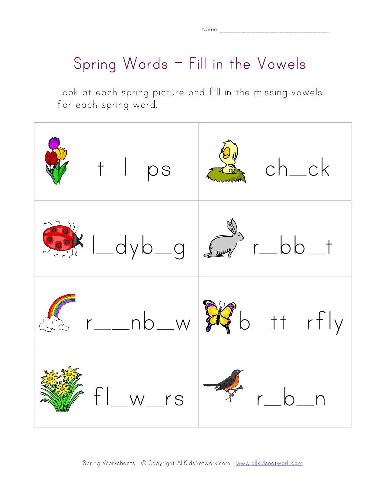 Spring Word Worksheet