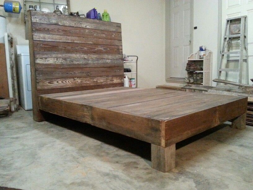Full size platform bed made out of reclaimed heart pine! | Reclaimed ...