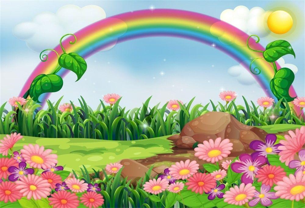 رخيصة Laeacco الطفل الكرتون الملونة قوس قزح العشب زهرة الشمس السماء حزب نمط الصورة الخلفيات التصوير ا Garden Illustration Rainbow Background Background Clipart