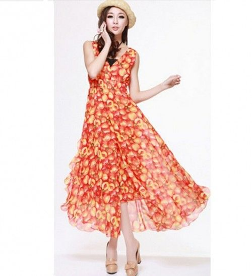 Lovely Bright Colour V-neck Fruit Pattern Chiffon Dress Reddish Orange HM12053104 http://www.clothing-dropship.com/lovely-bright-colour-v-neck-fruit-pattern-chiffon-dress-reddish-orange-g1636556.html