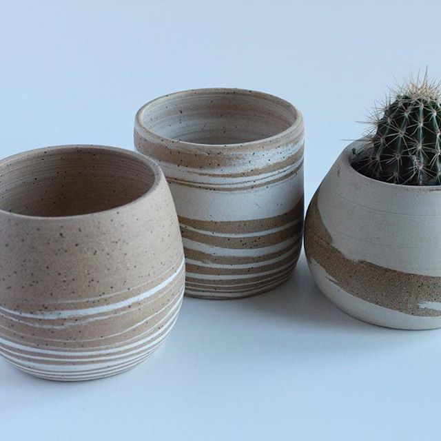 Marbled Clay Cactus Holder Www Lnpottery Com Marbled