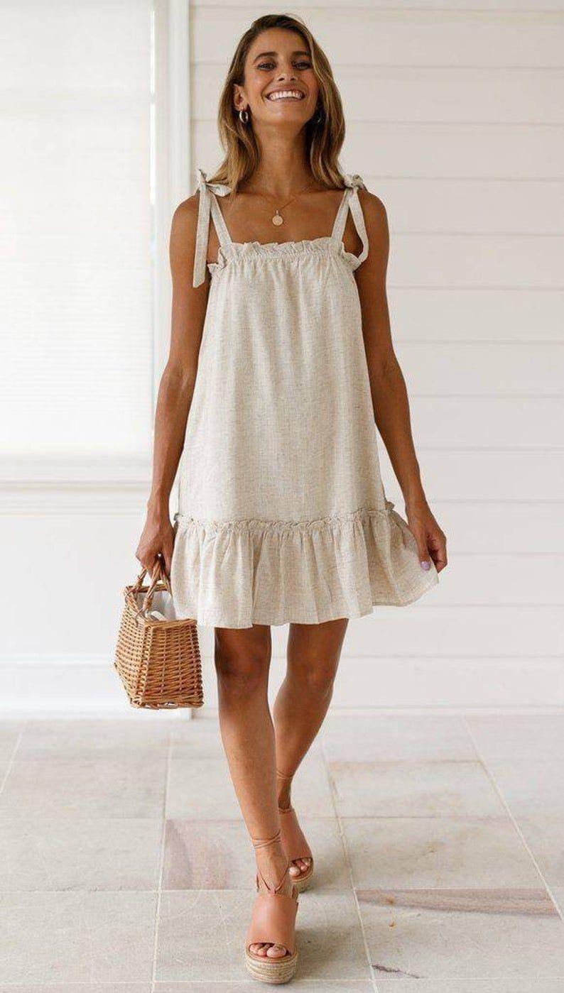Tie Shoulder Beach Dressperfect Outing Dresstie Shoulder Etsy In 2021 Dresses Casual Boho Casual Summer Dresses Neutral Dress [ 1399 x 794 Pixel ]