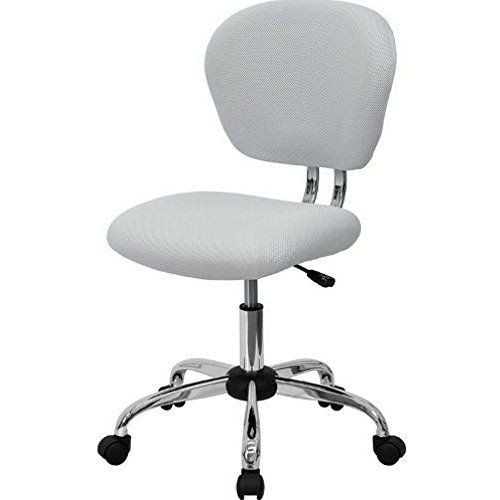Admirable White Mesh Desk Chair Armless Round Mid Back Rolling Swivel Cjindustries Chair Design For Home Cjindustriesco