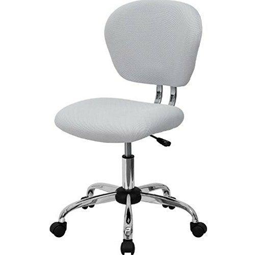 Wondrous White Mesh Desk Chair Armless Round Mid Back Rolling Swivel Forskolin Free Trial Chair Design Images Forskolin Free Trialorg