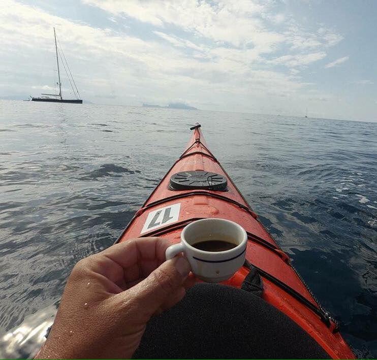 Capri from Procida kayak, coffe ☕️ and sail boat 8/19/16