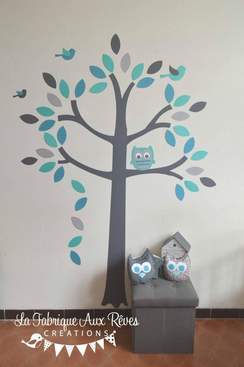 stickers arbre turquoise pétrole gris hibou oiseaux - décoration ...