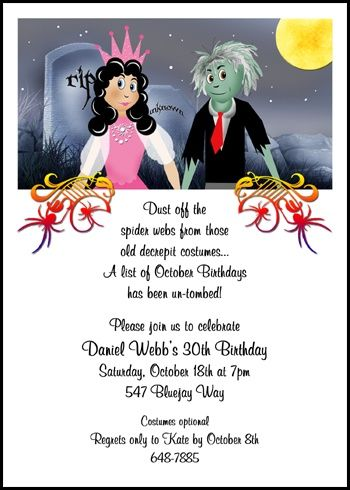 Adult spooky birthday halloween party invitation cards number 7800cs find spooky halloween invitation wording ideas and samples stopboris