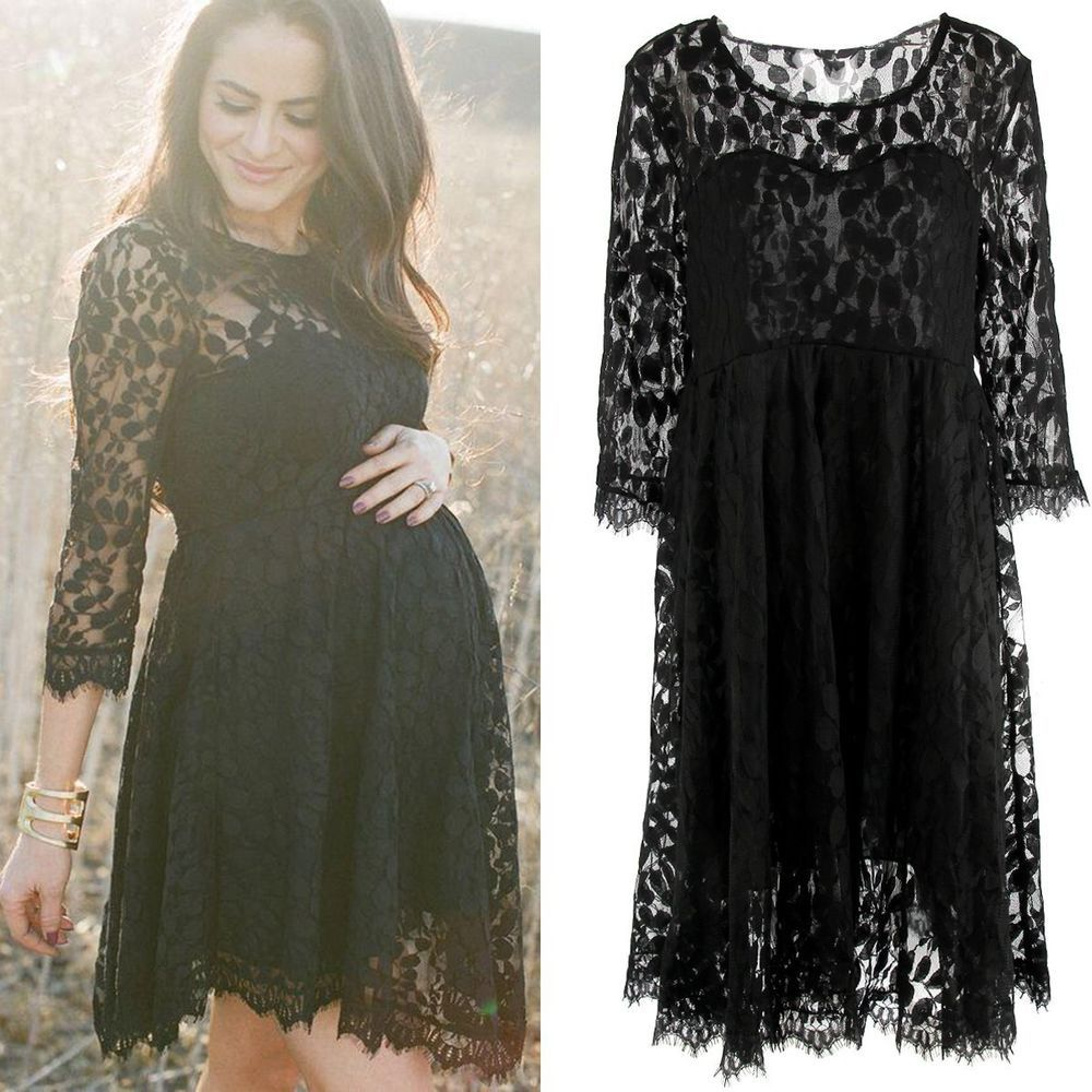 Lace dress for pregnant  Details about Pregnant Women Maternity Lace Floral Dress Long Sleeve