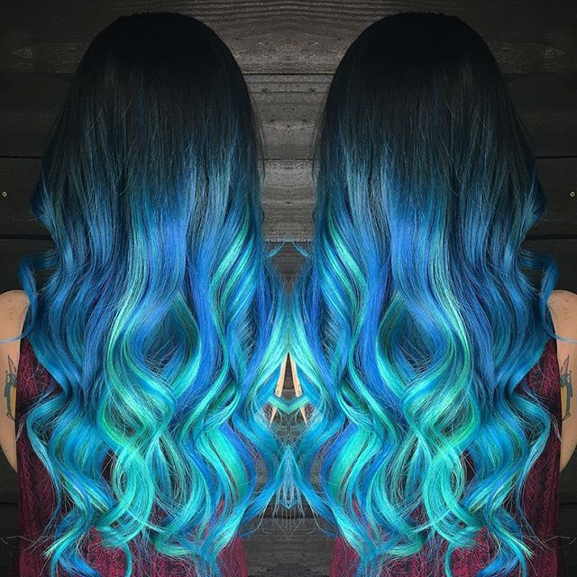Electric blue ombre hair color with turquoise hair extensions by electric blue ombre hair color with turquoise hair extensions by hairrceress mermaid pmusecretfo Gallery