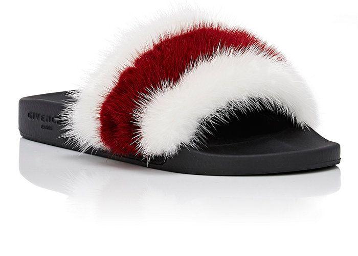 86e0c3f71281 Givenchy Striped Mink Fur Slide Sandals