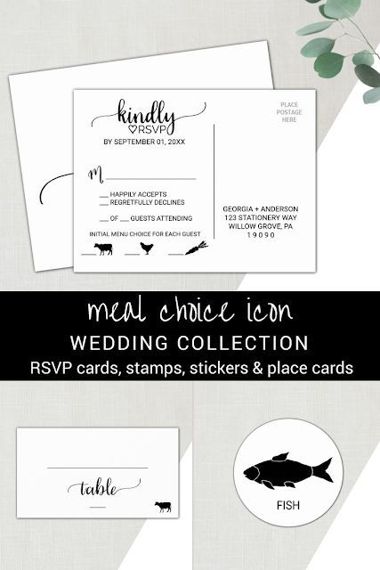 Meal Choice Icon Wedding Collection Weddingideas, Place cards and Rsvp