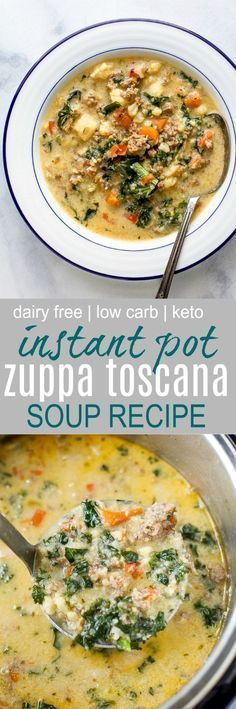 Instant Pot Zuppa Toscana Soup loaded with sausage bacon cauliflower and kale. T... - #Bacon #Cauliflower #Instant #kale #Loaded #paleosweetners #Paleo-ricetta-caduta #paleo-ricetta-Ricette-Paleo #paleo-ricette-cena #paleo-ricette-salsiccia #Pot #Sausage #Soup #Toscana #zuppa #zuppatoscanasoup