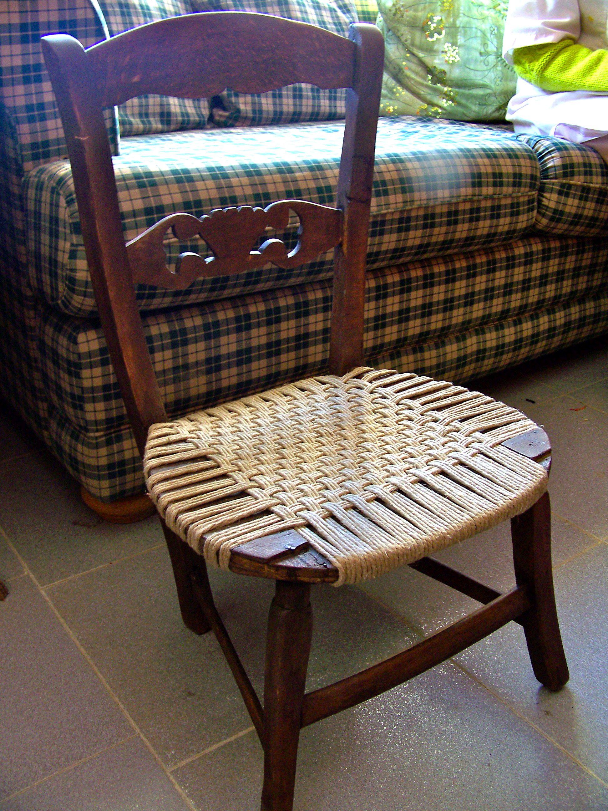 silla restaurada con cuerda de camo
