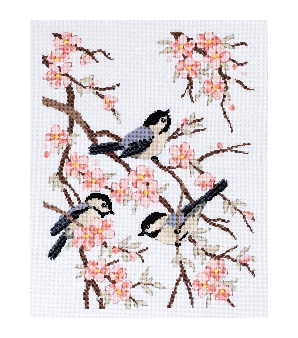 Chickadees And Apple Blossoms Counted Cross Stitch Kit11