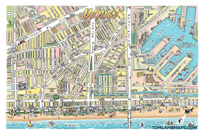 Tom Lamb Hand Drawn Map Of Venice Ca
