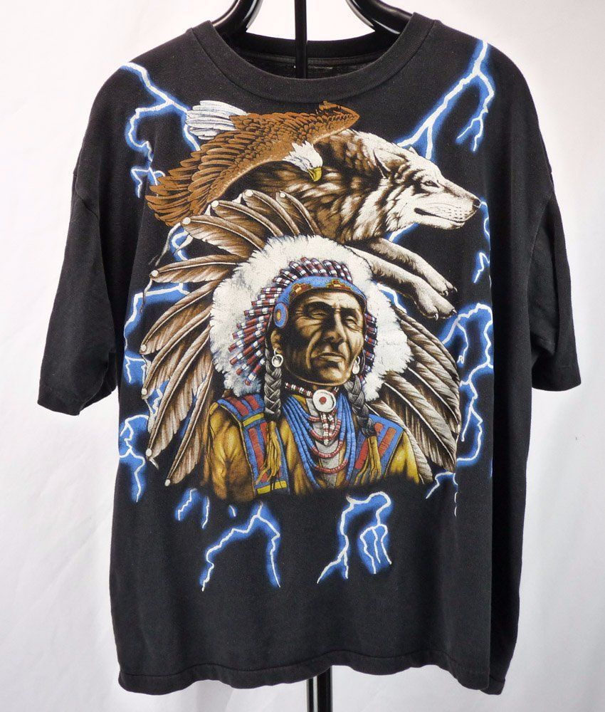 Vintage American Thunder T-Shirt 2XL 2X Native Indian Chief Eagle Biker  Lightnin  AmericanThunder  GraphicTee 604167a2d219