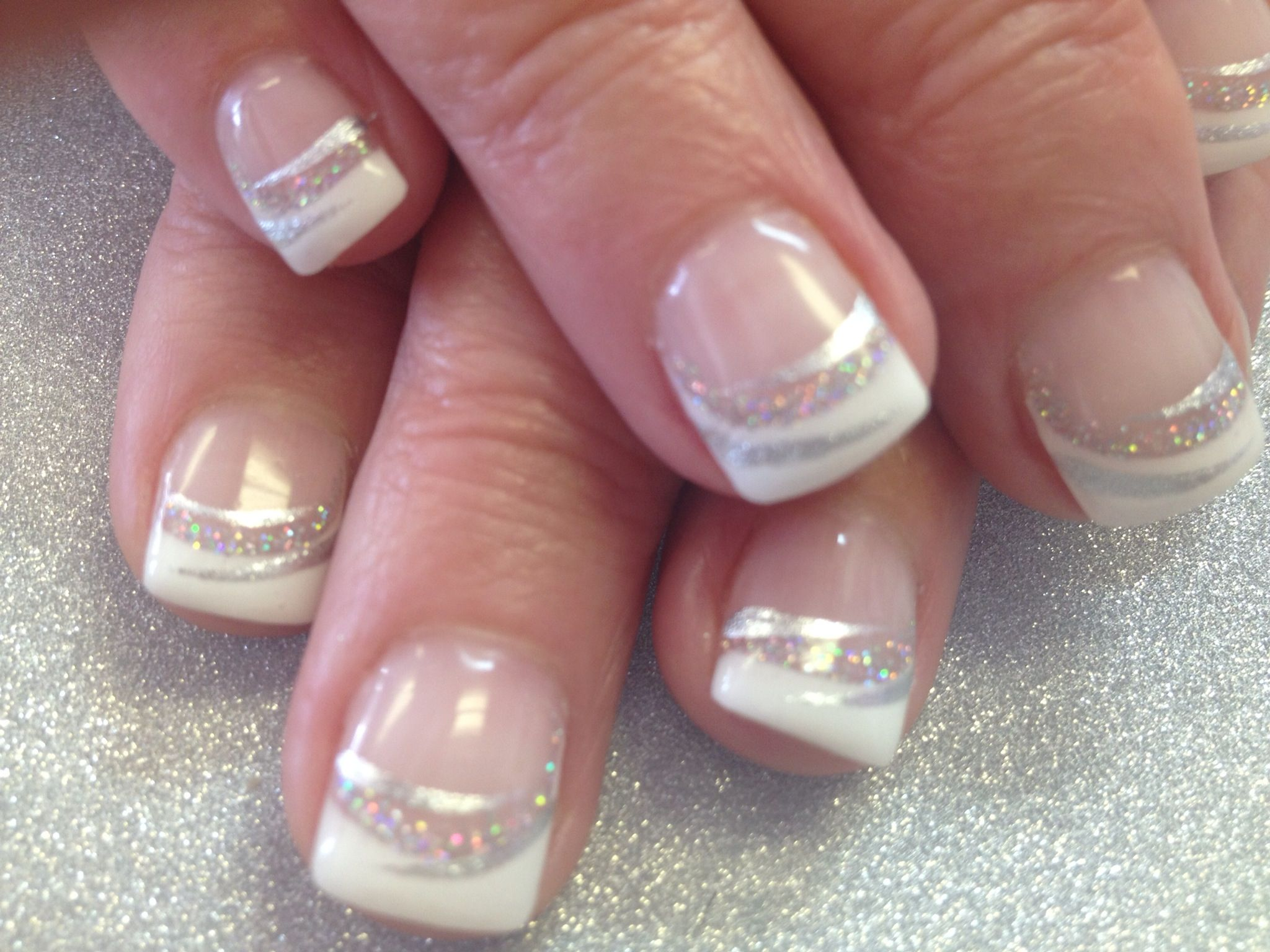 Fancy French Nails Le Disco Glitter And Stripe Right Accents