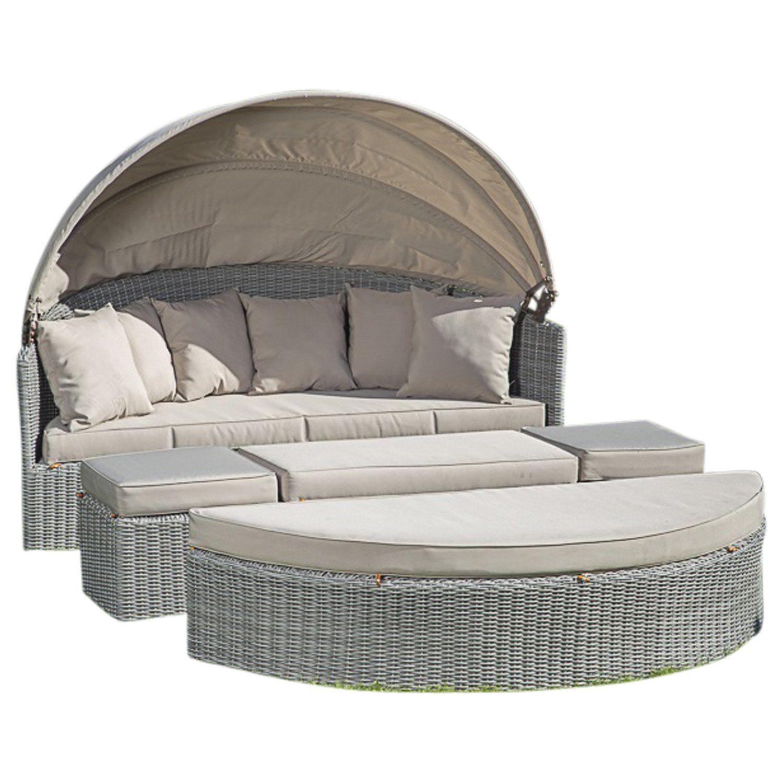 Amazon De Sonneninsel Riva Alu Halbrund Geflecht Hellgrau Polster Beige Rattan Lounge Mobel Lounge Mobel Gartenmobel
