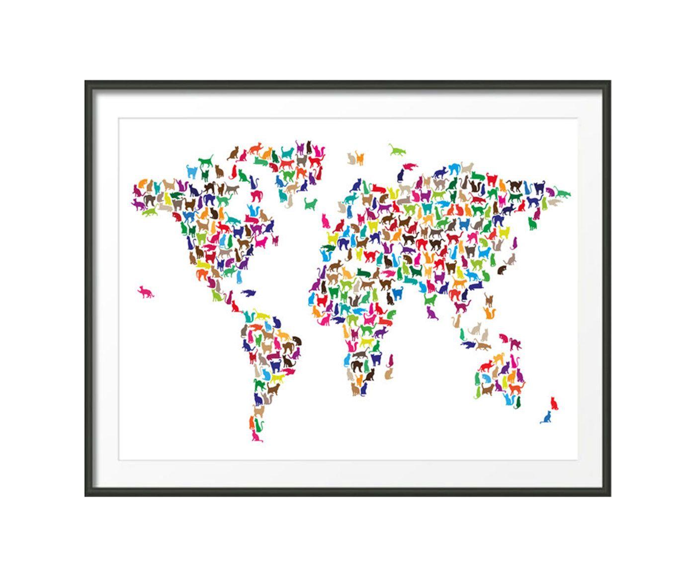 Worksheet. Lmina mapamundi gatos El mundo en un miau  Productos que adoro