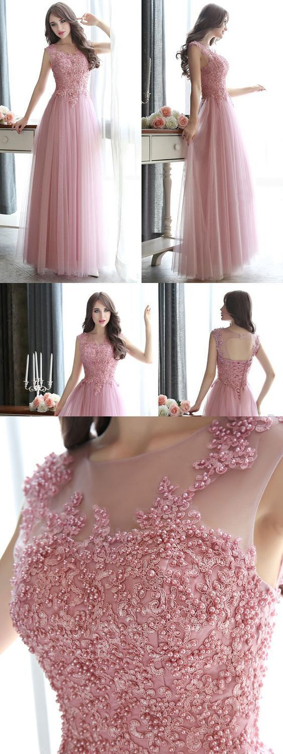 Open back pearl beaded prom dresses all over beaded pink prom dress