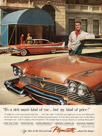 Plymouth Belvedere 1958 Rich Mans Kind - Mad Men Art: The 1891-1970 Vintage Advertisement Art Collection