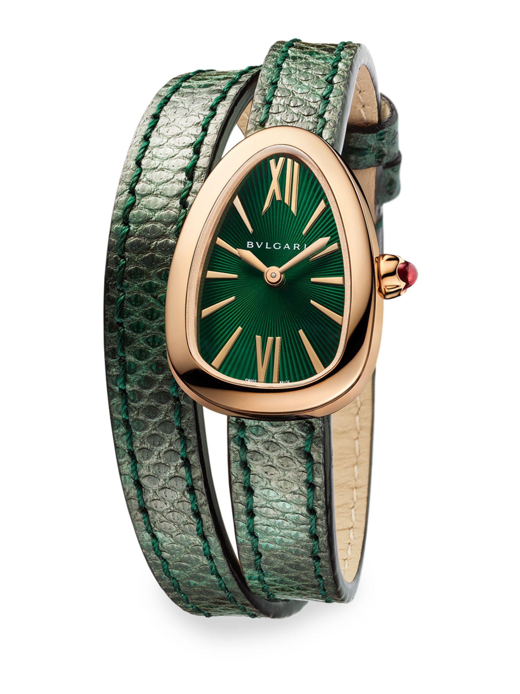 3e015b0c94f Relógios Femininos · BVLGARI Serpenti 18K Pink Gold   Green Karung Strap  Watch Bolsas De Grife