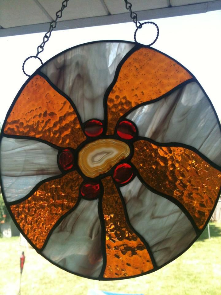 Stained Gl Modern Dream Catcher Variation W Geode And Nuggets By Susesstainedgl On Etsy Https