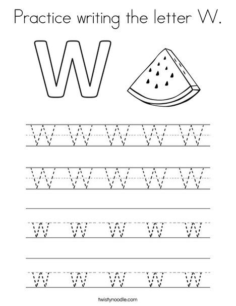 Practice Writing The Letter W Coloring Page Lettering Preschool Coloring Pages Alphabet Coloring Pages