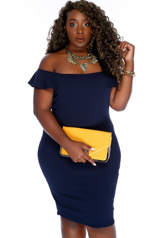 fd2fa7f3984 Sexy Navy Bold Off The Shoulder Neckline Ruffle Sleeve Bodycon Party Dress  Plus Size