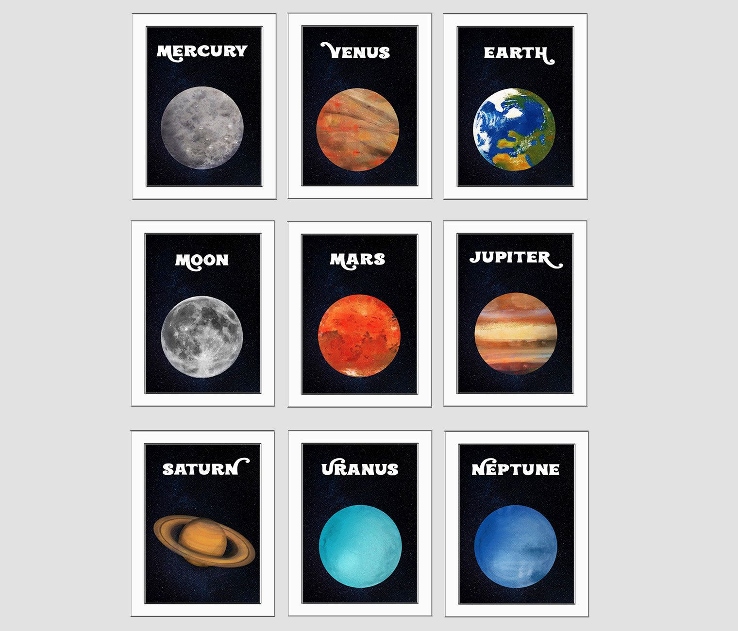 Solar System Planets Posters Cosmos Wall Art Printable