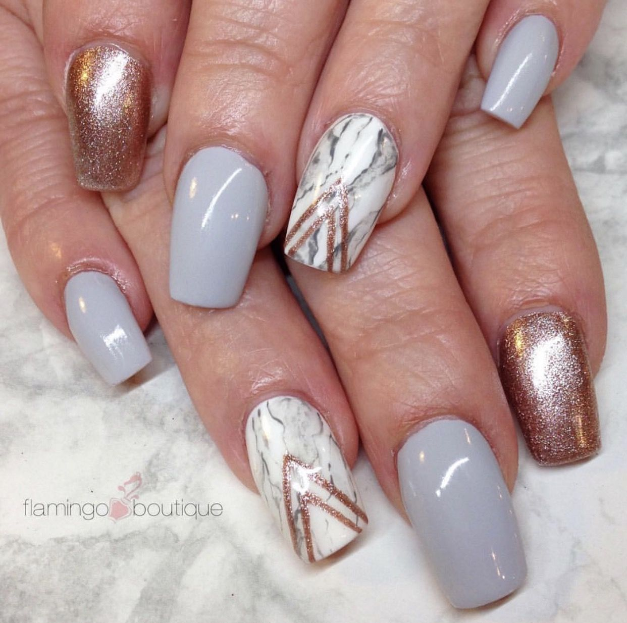 marble blue-grey and rose gold