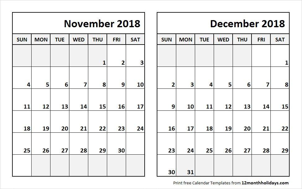 calendar template dec 2018